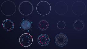 13款圆形HUD科技元素视频素材