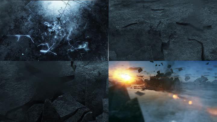 石頭開裂爆炸素材