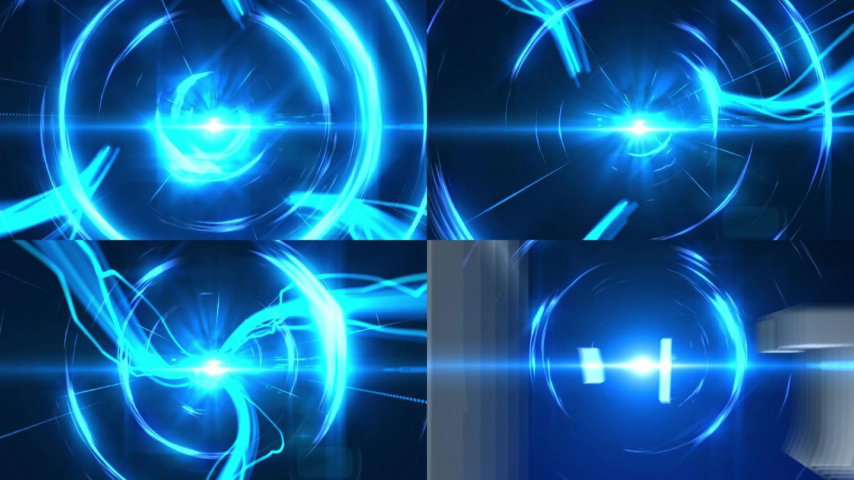 蓝色科技穿梭光效标题片头