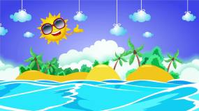 欢快卡通海岛背景循环视频素材