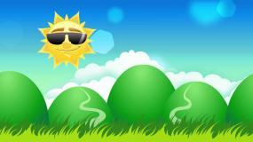 太阳阳光清新卡通背景循环视频素材