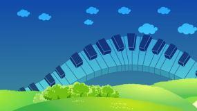 钢琴卡通舞台背景循环视频素材