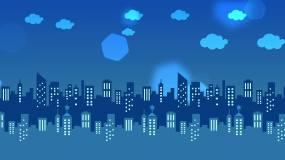夜晚城市卡通背景循环视频素材