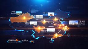 科技中国地图辐射AE模板