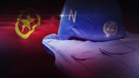 团旗旗帜和UN徽章蓝盔视频素材