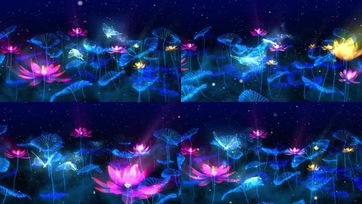 唯美光效粒子动态素材背景荷花池飞舞蝴蝶紫