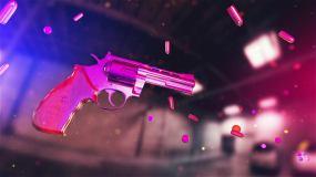 三维空间旋转手枪和子弹背景视频视频素材