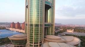 航拍无锡江阴华西龙希国际大酒店视频素材