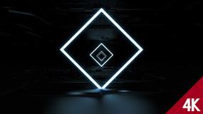 【4K】黑色背景创意方形LED舞台VJ穿视频素材