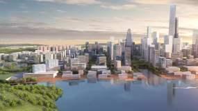 大气航拍视角三维绿色城市视频素材