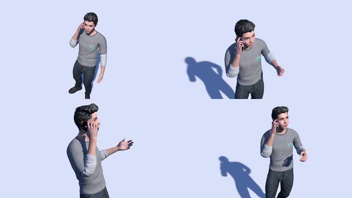 男青年站立打电话3d模型带骨骼动作