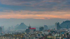 城市日出日落延時攝影視頻素材