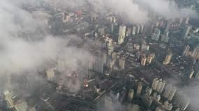 4K原素材-云雾中的上海城市全景视频素材