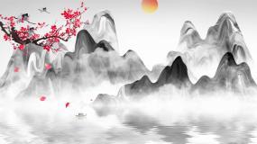 山水水墨中国风循环背景素材视频素材