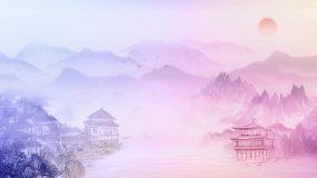 水墨彩色舞台背景循环视频素材