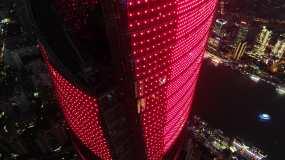 4K原素材-航拍红色的上海中心大厦塔冠永利官网网址是多少