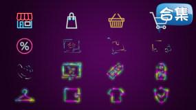 【合集】霓虹LED风卡通购物主题动画视频素材包