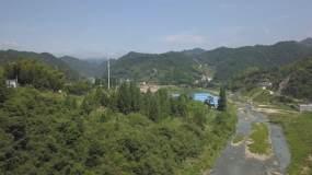 航拍山区风景山村蜂巢河流公路(原素材)视频素材