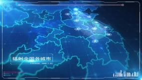 科技中国地图辐射全国ae模板AE模板