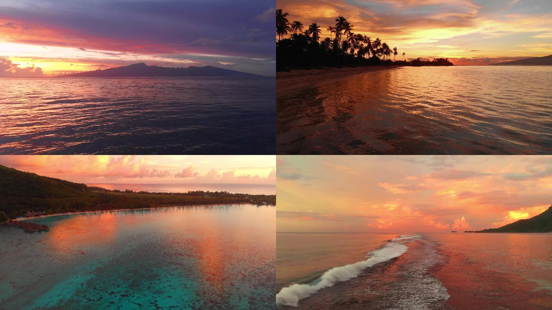 海邊夕陽日落海島島嶼沙灘唯美航拍
