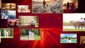 红色粒子喜庆祝寿寿庆视频片头相册AE模板AE模板