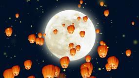 中秋节孔明灯月夜背景视频素材