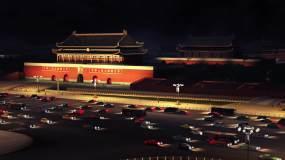 天安门夜景车流超清俯视视频素材