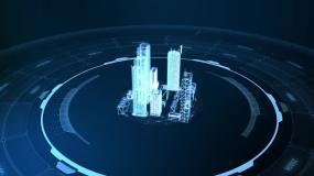 地产宣传粒子光线科技三维城市模型穿梭AE模板