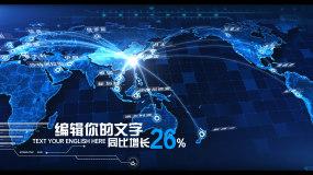 科技感中国辐射全球地图区位展示AE模板
