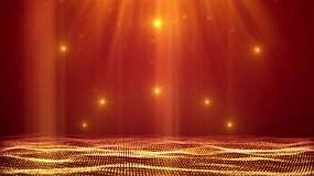 红底金色光效舞台背景循环视频素材