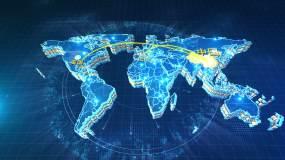 科技感E3D地图全球销售网络连线AE模板
