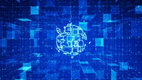 蓝色科技logo组合汇聚AE模板