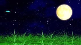 蓝色星空月亮草地萤火虫蝴蝶led背景视频视频素材