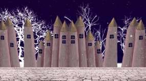 卡通城堡建筑夜景视频素材