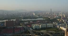 济南大明湖绿地中心周边航拍视频素材