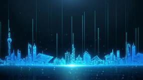 藍色城市剪影科技背景循環視頻素材