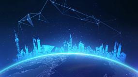 地球城市科技背景循環視頻素材