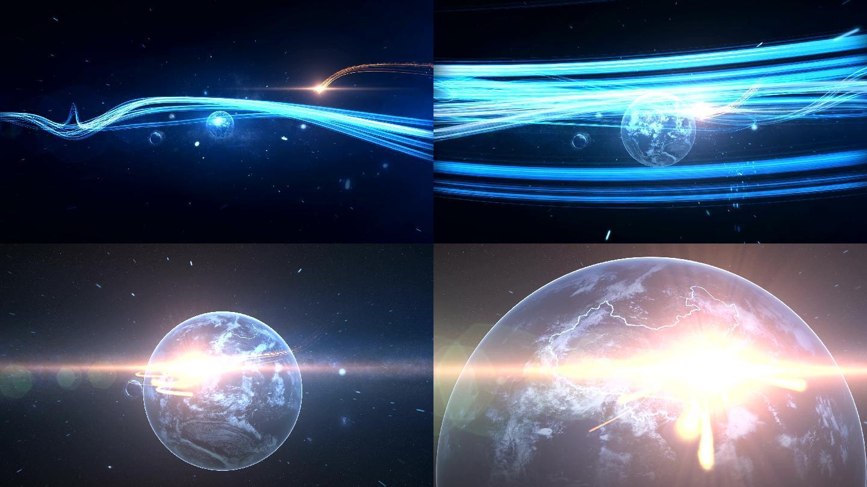光線地球沖屏轉場2K大氣震撼開場地球