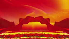 紅綢紅飄帶側屏副屏豎屏背景視頻素材7視頻素材