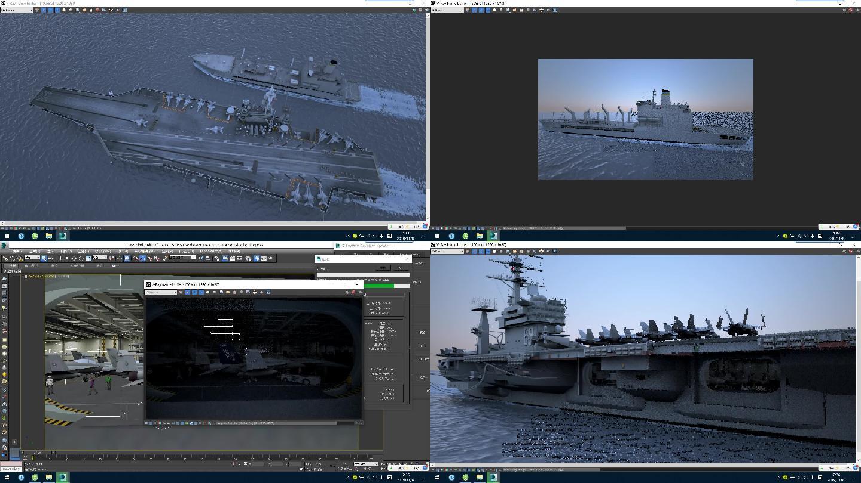 超级航母带精细内部结构3dsmax