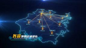 标准地图浙江地图中国地图世界地图辐射覆盖AE模板