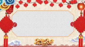 2020喜庆春节新年边框(透明通道)视频素材