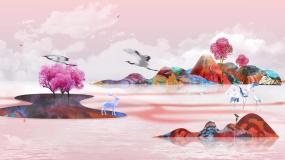 唯美水墨风神话花鸟仙境视频素材