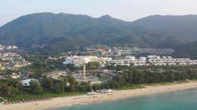 4K原素材—海南三亚亚龙湾海岸线热带风光视频素材