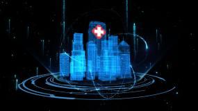 建筑群粒子光线数据生长动画AE模板