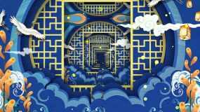 4k蓝色国潮中国风仙鹤祥云大背景视频素材