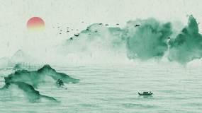 鸟群飞过设色水墨山水098视频素材