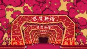 4K春晚新年鲜花中国红大气背景永利官网网址是多少