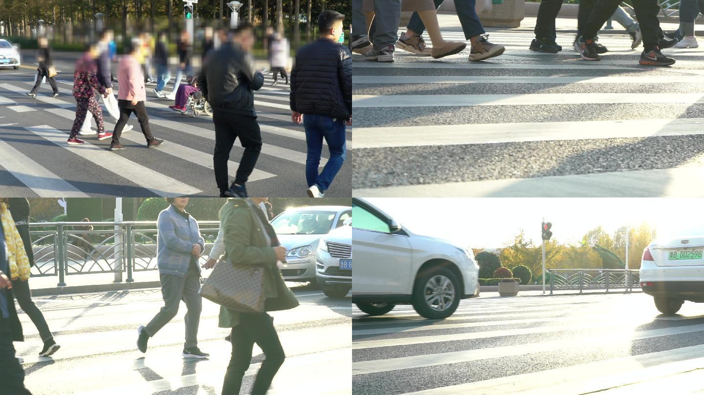 4K人群脚步特写升格慢镜过马路人流车辆