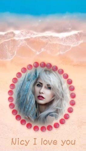 海灘紅傘愛情照片展示AE模板